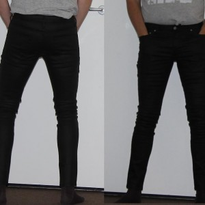 Topman sprayon black waxed jeans
